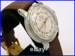 RARE VINTAGE MILITARY MEN 1950s MOVADO BUMPER AUTOMATIC STEEL WATCH SERVICE 3266