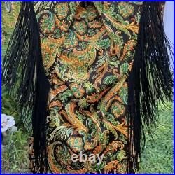 RARE Vintage 1970's Young Edwardian By Arpeja Psychedelic Fringe Mini Dress