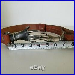 RARE Vintage 70's Victorian Style Clasping Hands Engraved Leather Belt