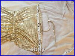 RARE Vintage Whiting & Davis gold metal mesh / chainmail shirt / top, disco