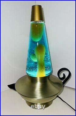 RARE! Vtg 1970s Aladdin Genie Lava Lamp Gold Motion Lite /gold Wax & Aqua Liquid