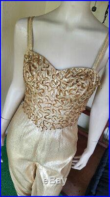 RARE Vtg 50's CEEB Gold LAME Sequined PINUP BOMBSHELL Catsuit Jumpsuit M/L VLV