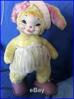 RARE Vtg Rushton Star Creation Rubber Face Bunny Rabbit 21Plush Stuffed Toy