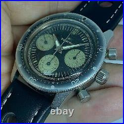 RARE ZENITH VINTAGE CHRONOGRAPH REF A277 MANUAL WIND from 1965 40 mm Ghost bezel