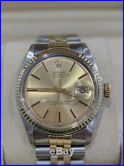 ROLEX Mens 14K Two Tone Gold 36mm DATEJUST RARE Vintage Jubilee AUTHENTIC