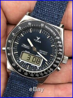 Rare! 1970s Vintage Yema Flygraf Quartz Ana-digi Mens Pilot Watch READ DESCR