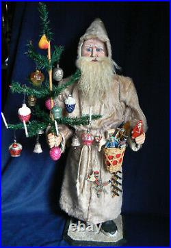 Rare Antique 32 German Clockwork Nodder Santa Bisque Glass Eyes Feather Tree