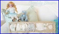 Rare Antique Bisque Mignonette Doll & Trousseau in Presentation Box