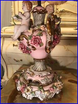 Rare Antique CAPODIMONTE ITALIAN Porcelain table Lamp Angels Cherubs