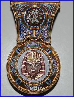 Rare Antique Micro Mosaic Egyptian Revival Yellow Gold Pendant Necklace