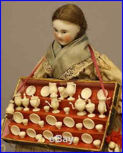 Rare Antique Peddler Doll In Dome