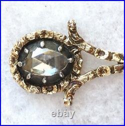 Rare Antique Rose Cut Diamond & Ruby Halleys Comet Brooch, Late Georgian Era