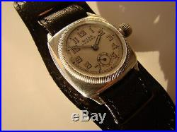 Rare Antique Sterling Silver Rolex Oyster Cushion Gents Watch 1930