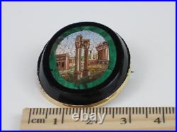 Rare Antique Victorian c1840 Italian Micro Mosaic Brooch with Roman Forum 10.8g