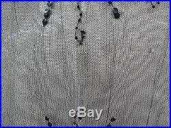 Rare Art Deco 1920s Flapper French Net Sequinned Over Dress Black Open Sides