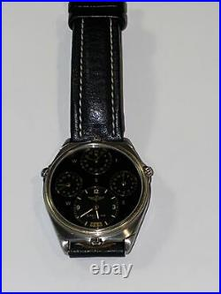 Rare Breitling 18KT /SS World Time Pilots Watch Vintage Men's Watch 4 Time Zones