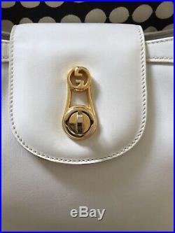 Rare GUCCI Vintage 60s White Leather Mod GoGo Shoulder Bag M