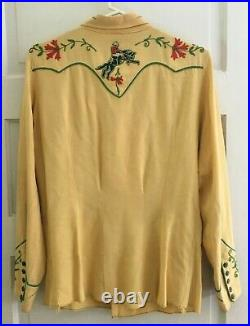 Rare H Bar C Ranch Wear Vintage Men's Western Shirt Bucking Rearing Horses BIN