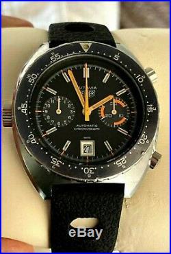 Rare Heuer Autavia Calibre 12 Auto Chronograph Orange Boy Watch Ref 1630 MH