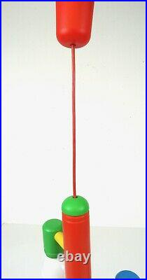 Rare Italian Vintage MID Century Memphis Sottsass Chandelier Ceiling Lamp 80s