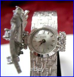 Rare Piaget 18k White Gold And Diamond Textured Peek A Boo Cover Watch Run Great