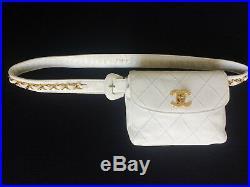 Rare Size 85 Chanel CC Logo White Leather Belt Waist Bag Purse Handbag