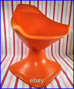 Rare Space Age Vintage SWIVET Orange Moulded Products MOD Child's Swivel Chair
