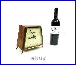 Rare Stunning MID Century Modernism Teak Table Clock Vintage 1960 By Dugena
