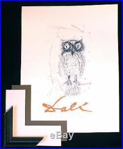 Rare The Blue Owl 1968 Salvador DALI Vintage Fine Art Lithograph Signed