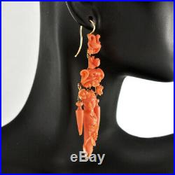 Rare Victorian Antique 18K Gold Natural Coral Carvings Cameos Dangle Earrings