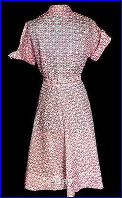 Rare Vintage 1950's Red And White Small Floral Print Nylon Sheer Dress Size 6-8