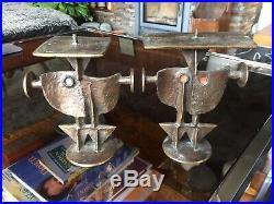 Rare Vintage 1960s Brutalist / Modernist Bronze Figural Candlestick by PAPZ No. 1