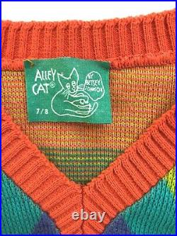 Rare Vintage 70s Betsey Johnson Alley Cat V neck cropped rainbow sweater Sz Sm