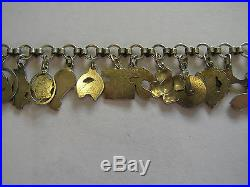 Rare Vintage Antique German Silver Enamel Lucky Charm Bracelet 22 Charms 7.25