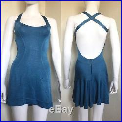 Rare Vintage Azzedine Alaia Blue Acetate Mini Short Racerback Dress S