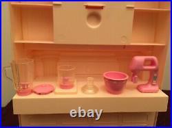 Rare Vintage Barbie Magical Mansion Fireplace/kitchen Cabinet Set