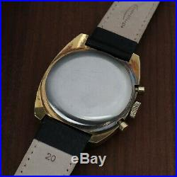 Rare Vintage Breitling 9857 Chronograph 1970's Lemania 1873 Gold Panda Dial