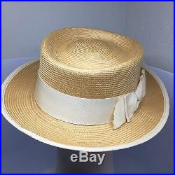 Rare Vintage Chanel Bow Straw Hat 90s Cuba M