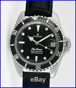 Rare Vintage EDOX Sky Diver Self Winding Date S/Steel Mens Wrist Watch
