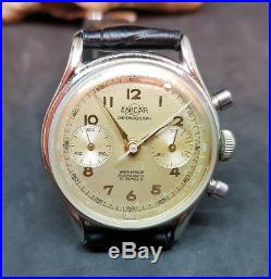 Rare Vintage Enicar Chronograph Silver Dial Manual Wind Man's Watch