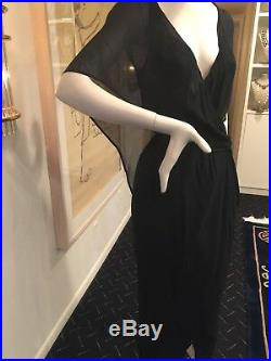 Rare Vintage Halston Cape Overlay Goddess Gown Reversible Wrap Dress S/M CHIC
