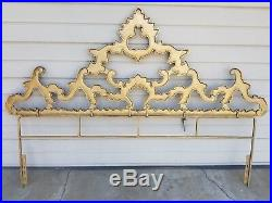 Rare Vintage Hollywood Regency Baroque Rococo Glam Gold King Size Headboard