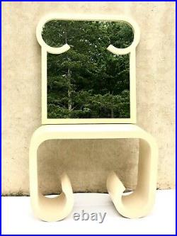 Rare Vintage Karl Springer Style Console Table & Mirror Waterfall Scroll