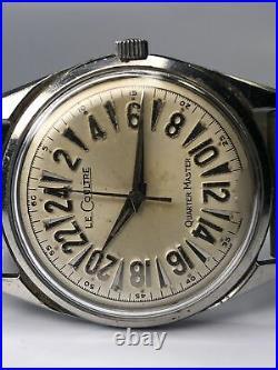 Rare Vintage Men's LeCoultre Quartermaster 24 Hour WHITE Dial Watch JLC
