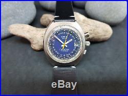 Rare Vintage Oris Star Chronoris Blue Dial Date Manual Wind Man's Watch