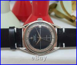 Rare Vintage Universal Geneve Polerouter Date Black Dial Automatic Man's Watch
