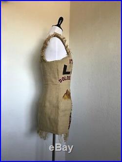 Rare Vtg Dolce & Gabbana SS1992 Jewel Jute Straw Potato Sack Mini Dress IT42 S/M