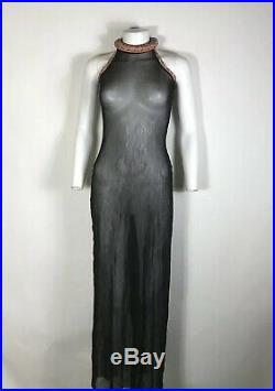 Rare Vtg Jean Paul Gaultier Black Sheer Mesh Dress S