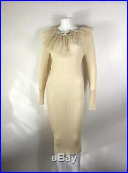 Rare Vtg Jean Paul Gaultier Ecru Mesh Collar Dress S