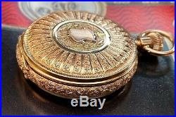 Rare Waltham 14K Three Color Gold Case with Diamond Pocket Watch 6s Circa 1890